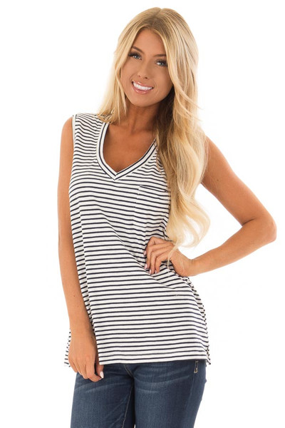 Cream and Navy Striped Tank Top with Chest Pocket front close up