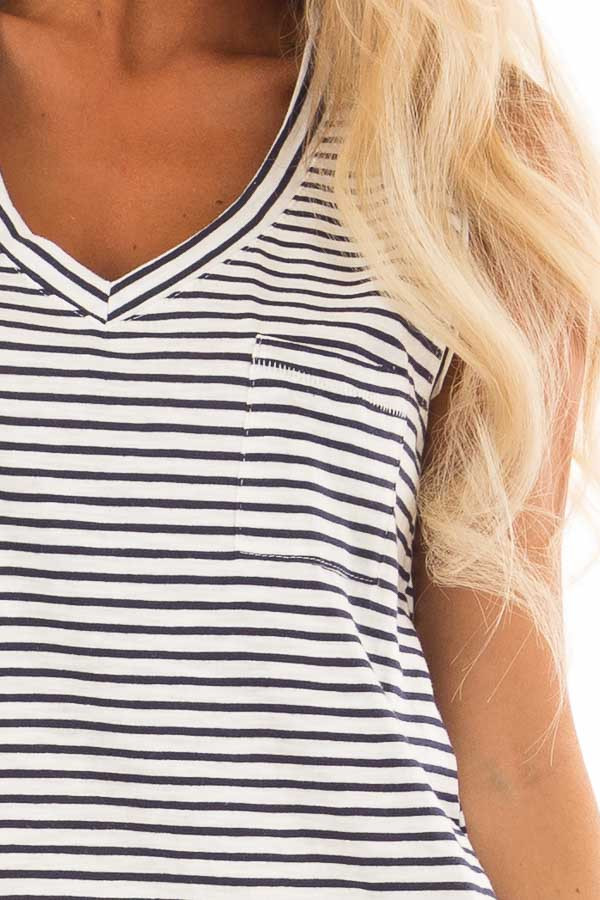 Cream and Navy Striped Tank Top with Chest Pocket detail