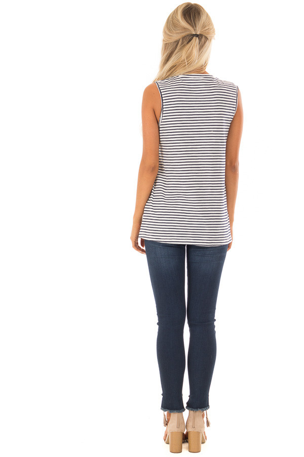 Cream and Navy Striped Tank Top with Chest Pocket back full body