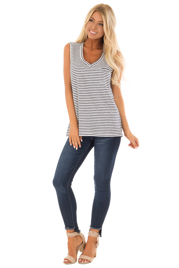 Cream and Navy Striped Tank Top with Chest Pocket front full body