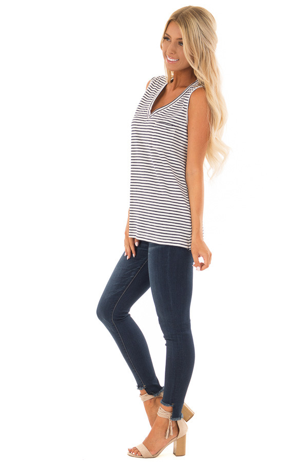 Cream and Navy Striped Tank Top with Chest Pocket side full body