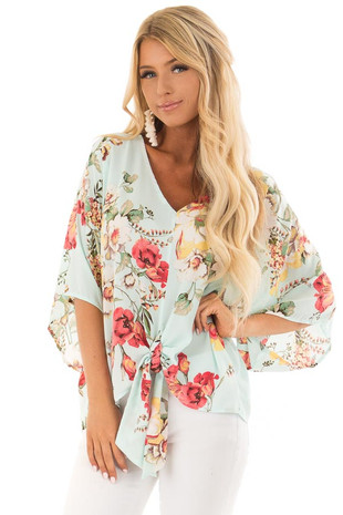 Teal Floral Blouse with Front Knot Detail front close up