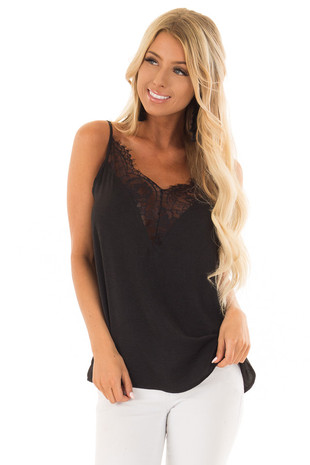 Obsidian Black Satin Lace Tank Top with Adjustable Straps front close up