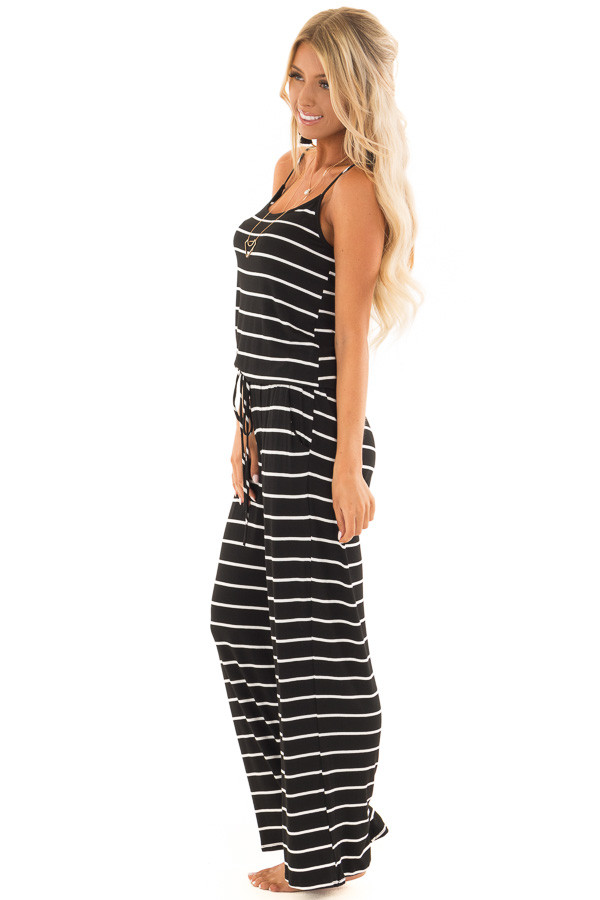 Black Striped Spaghetti Strap Jumpsuit with Waist Tie side full body