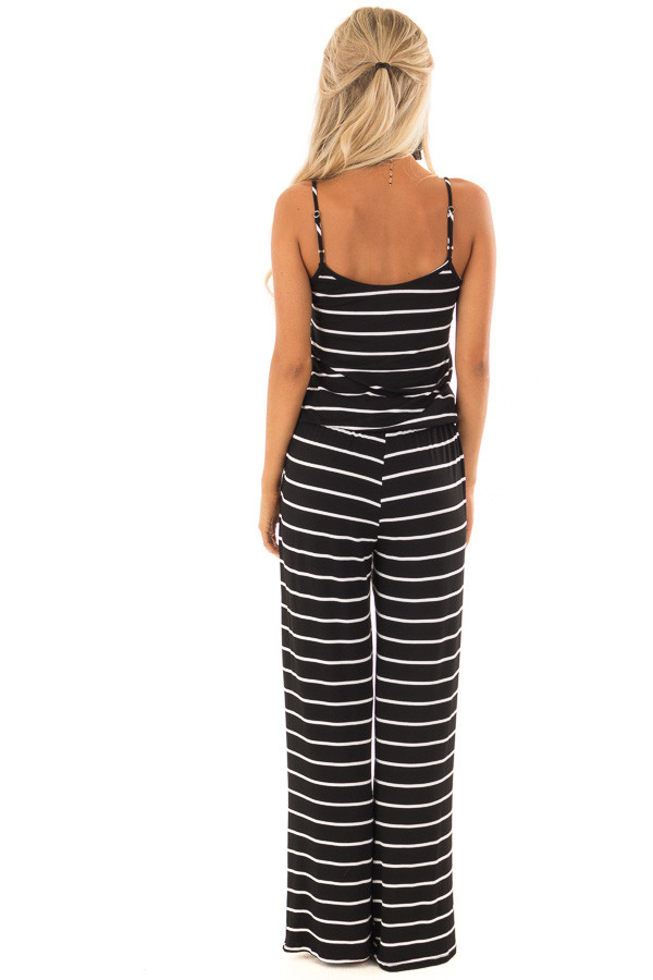 Black Striped Spaghetti Strap Jumpsuit with Waist Tie back full body