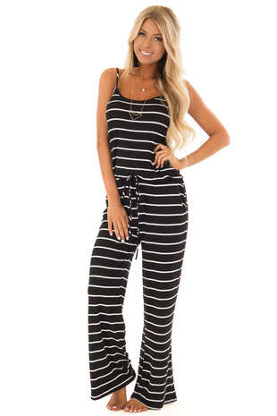 Black Striped Spaghetti Strap Jumpsuit with Waist Tie front full body