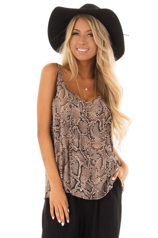 Mocha Snake Skin Print Cami Tank Top front close up