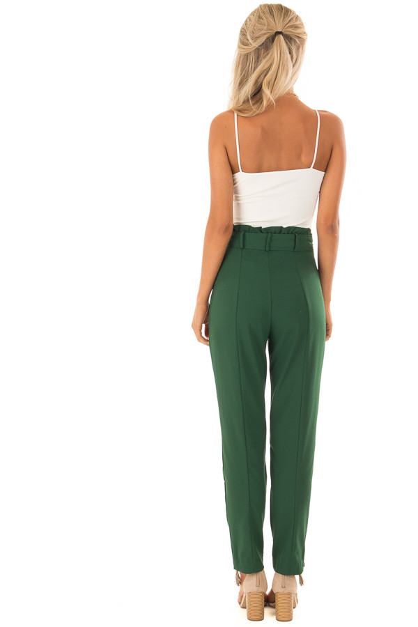 Hunter Green High Rise Linen Trousers with Waist Tie back full body