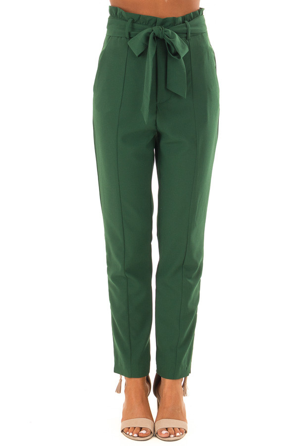 Hunter Green High Rise Linen Trousers with Waist Tie front view