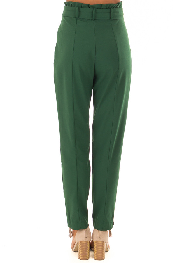 Hunter Green High Rise Linen Trousers with Waist Tie back view