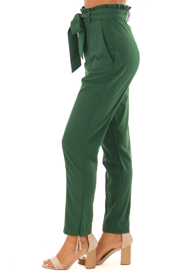 Hunter Green High Rise Linen Trousers with Waist Tie side view