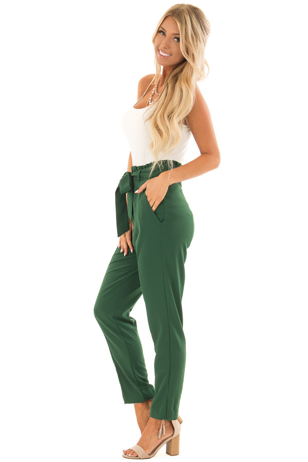 Hunter Green High Rise Linen Trousers with Waist Tie side full body