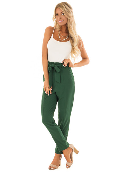Hunter Green High Rise Linen Trousers with Waist Tie front full body