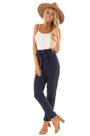 Navy High Rise Linen Trousers with Waist Tie front full body