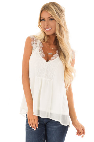 Off White Lace Chiffon Blouse front close up