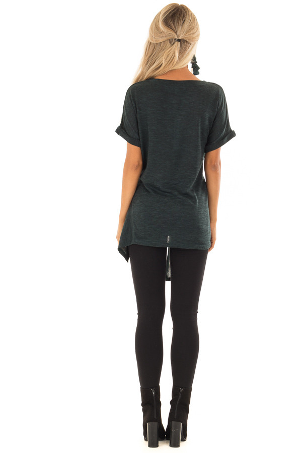 Dark Emerald Two Tone Short Sleeve Top with Front Side Tie back full body