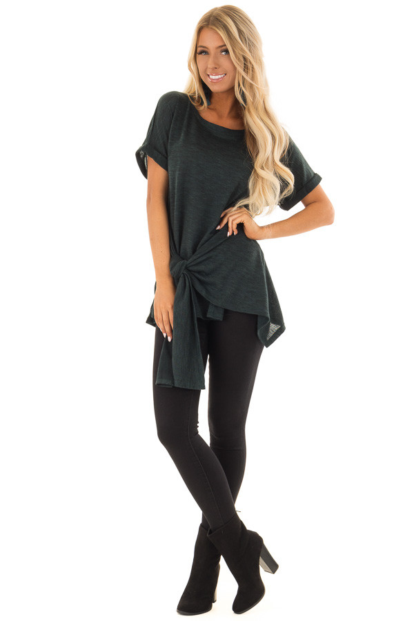 Dark Emerald Two Tone Short Sleeve Top with Front Side Tie front full body