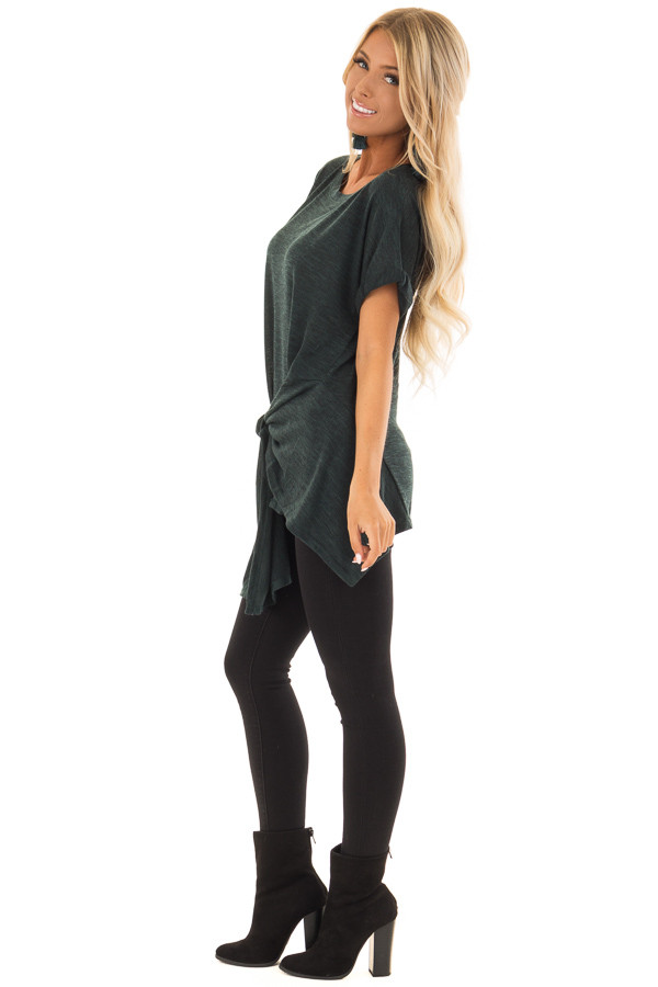 Dark Emerald Two Tone Short Sleeve Top with Front Side Tie side full body