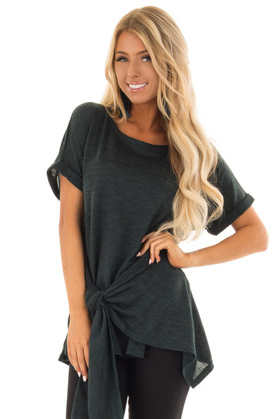 Dark Emerald Two Tone Short Sleeve Top with Front Side Tie front close up