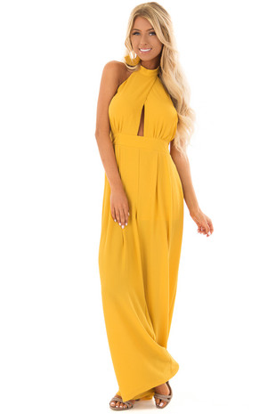 Tuscan Sun Mock Neck Jumpsuit with Open Back front full body