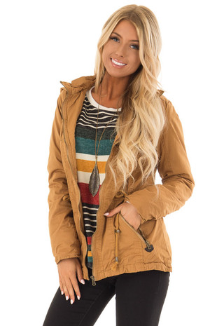Camel Hooded Cargo Jacket with Removable Hood front close up