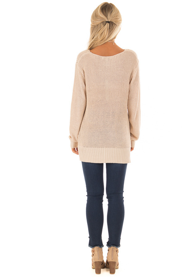 Light Taupe Long Sleeve Sweater with Front Twist back full body