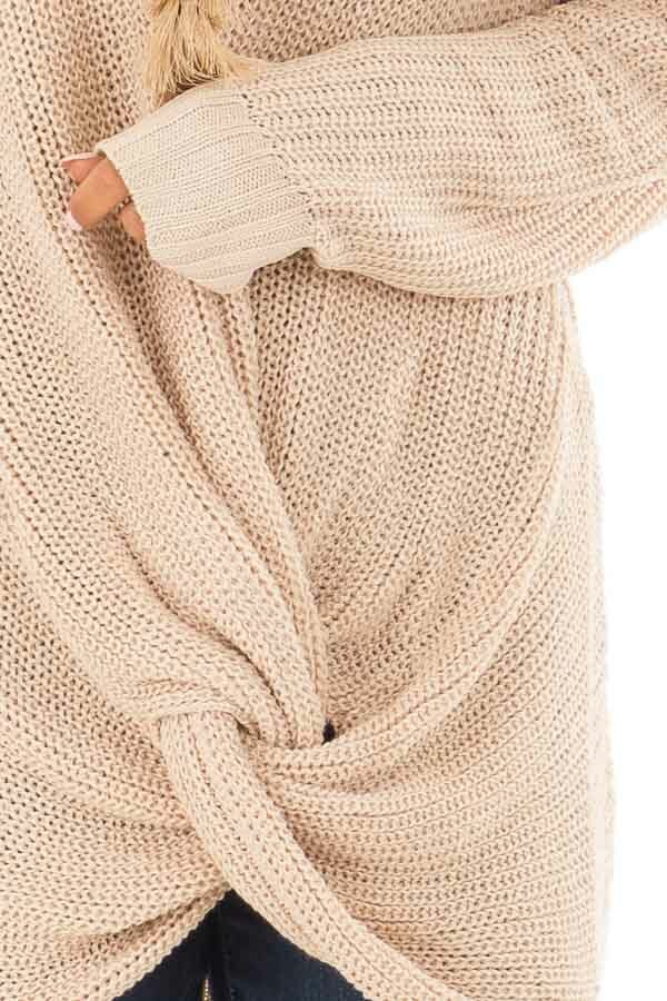 Light Taupe Long Sleeve Sweater with Front Twist detail