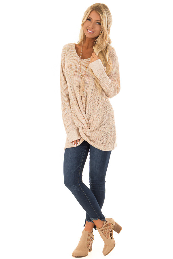Light Taupe Long Sleeve Sweater with Front Twist front full body