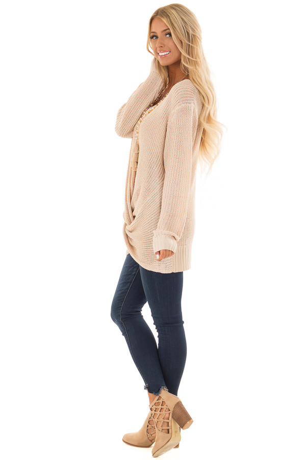 Light Taupe Long Sleeve Sweater with Front Twist side full body