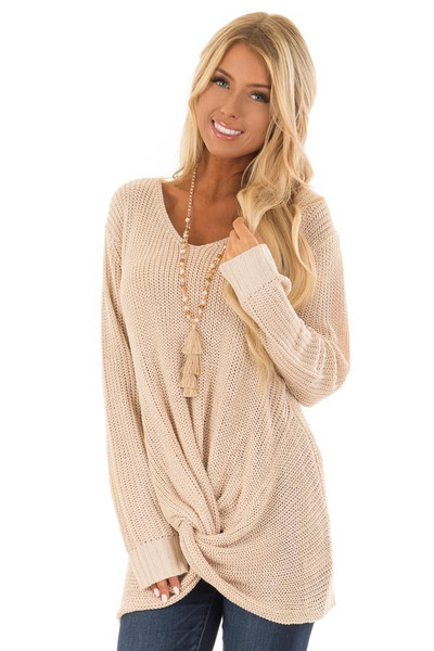 Light Taupe Long Sleeve Sweater with Front Twist front close up