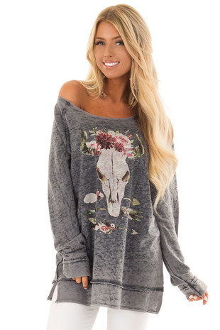 Charcoal Mineral Wash Long Sleeve Top with Floral Skull front close up