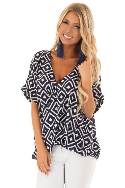 Navy and White Cross Over Front Top with Geometric Print front close up