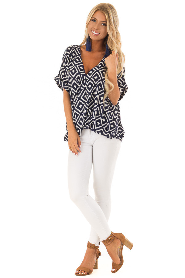 Navy and White Cross Over Front Top with Geometric Print front full body