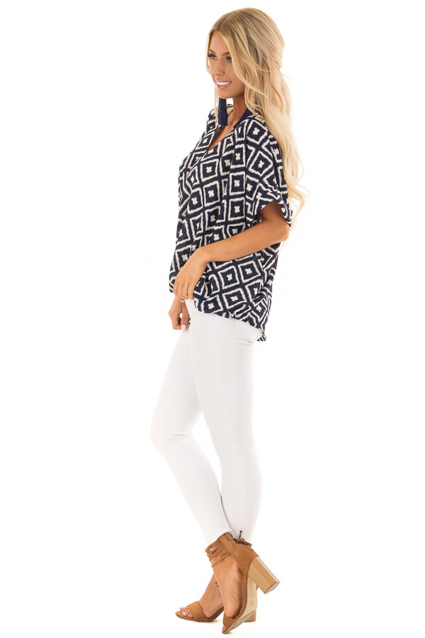 Navy and White Cross Over Front Top with Geometric Print side full body