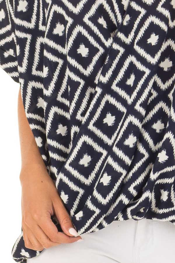 Navy and White Cross Over Front Top with Geometric Print detail