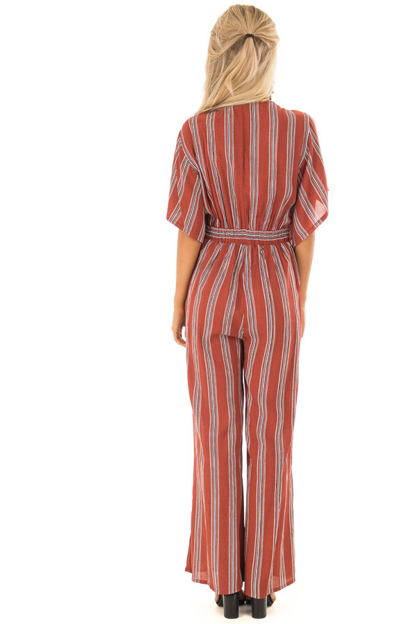 Marsala Striped Short Sleeve Jumpsuit with Front Tie Detail back full body