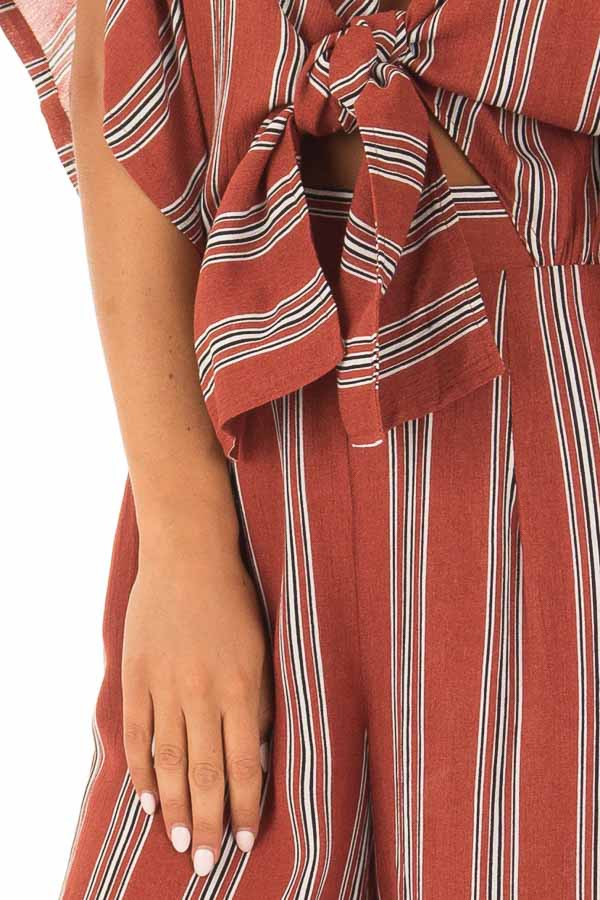 Marsala Striped Short Sleeve Jumpsuit with Front Tie Detail detail