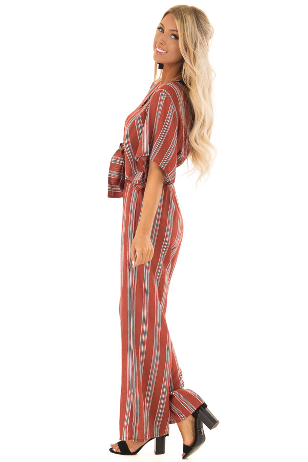 Marsala Striped Short Sleeve Jumpsuit with Front Tie Detail side full body