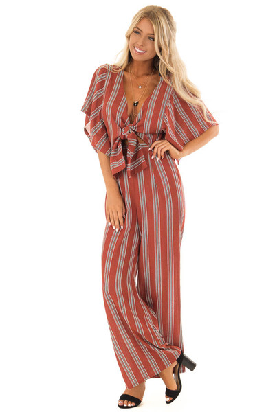 Marsala Striped Short Sleeve Jumpsuit with Front Tie Detail front full body