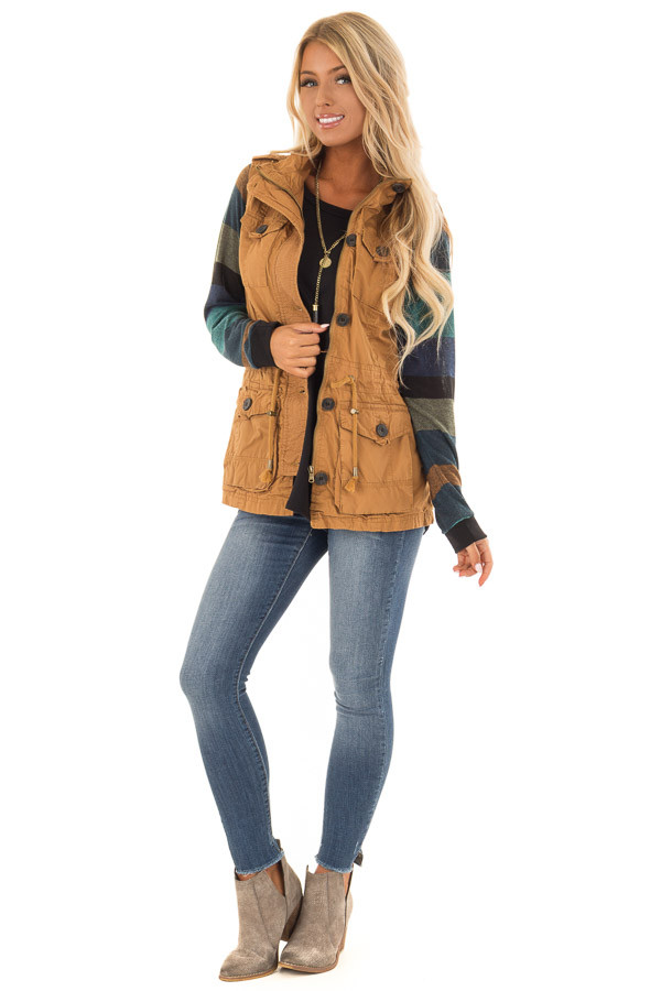 Camel Zip Up Button Vest with Draw String and Pockets front full body