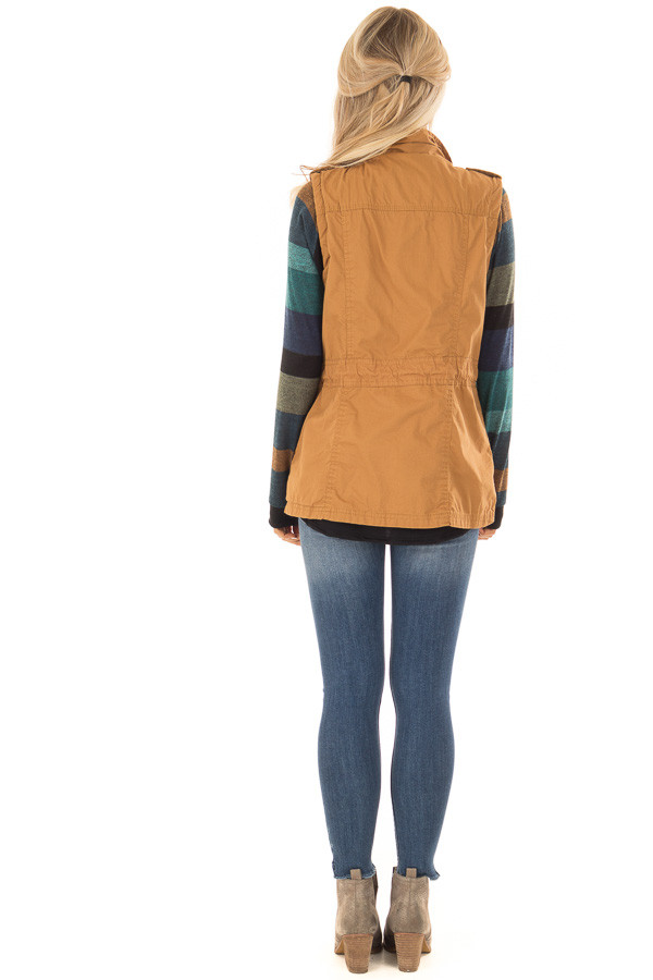 Camel Zip Up Button Vest with Draw String and Pockets back full body