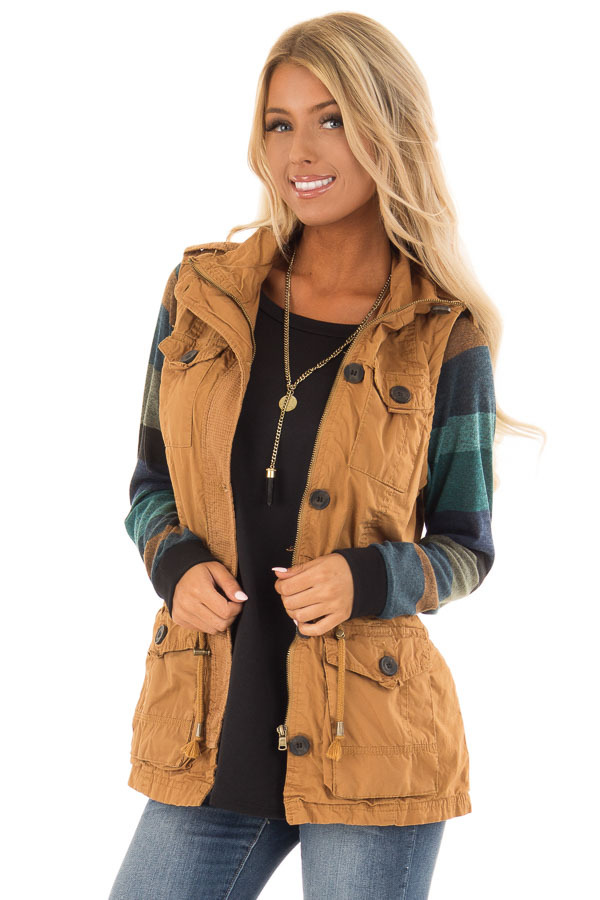 Camel Zip Up Button Vest with Draw String and Pockets front close up