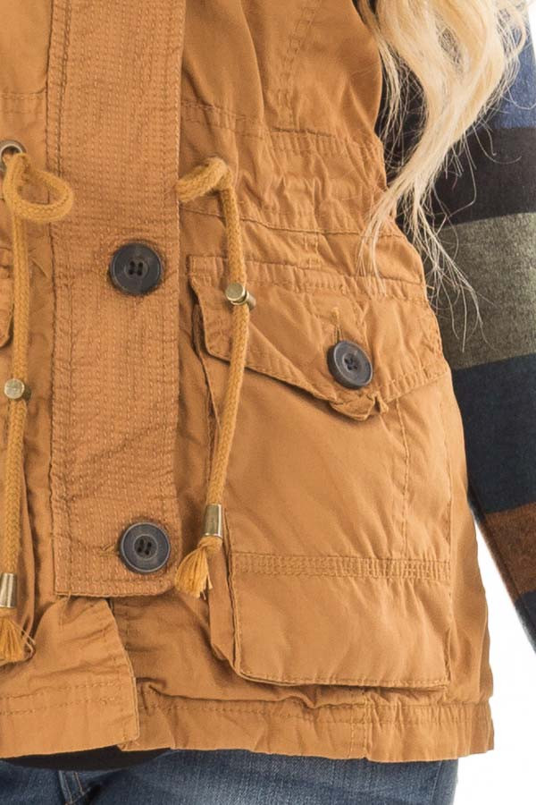 Camel Zip Up Button Vest with Draw String and Pockets detail