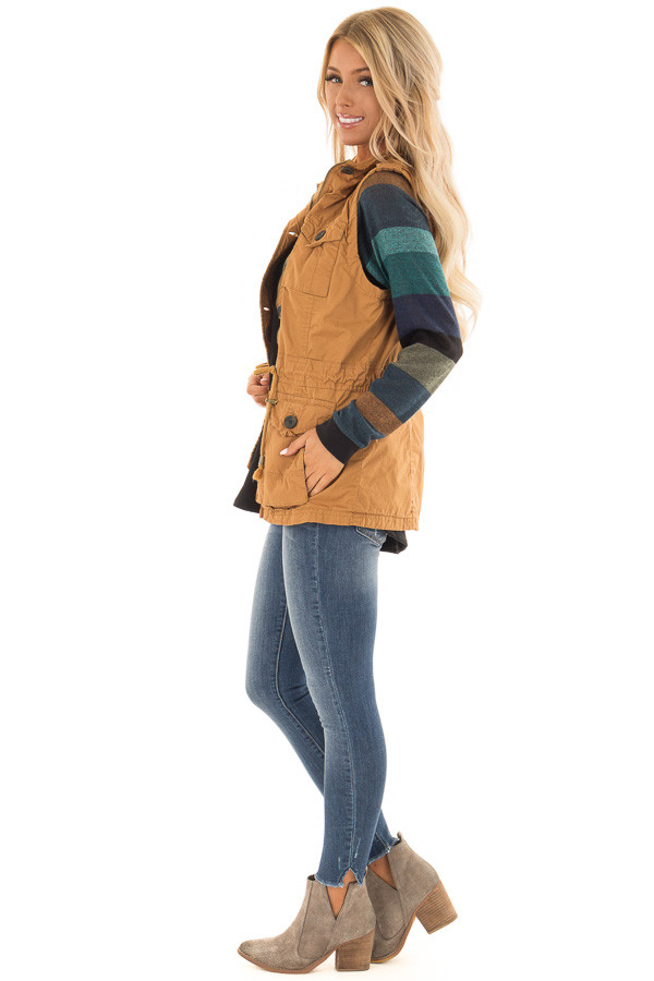 Camel Zip Up Button Vest with Draw String and Pockets side full body