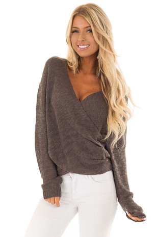 Charcoal Long Sleeve Knit Sweater with Draped Crossed Front front full body