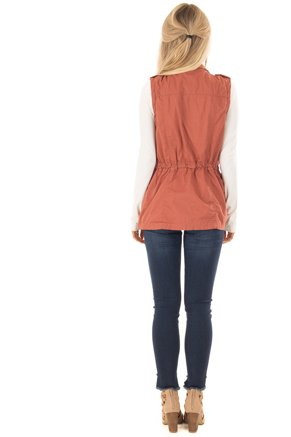 Clay Zip Up Button Vest with Draw String and Pockets back full body