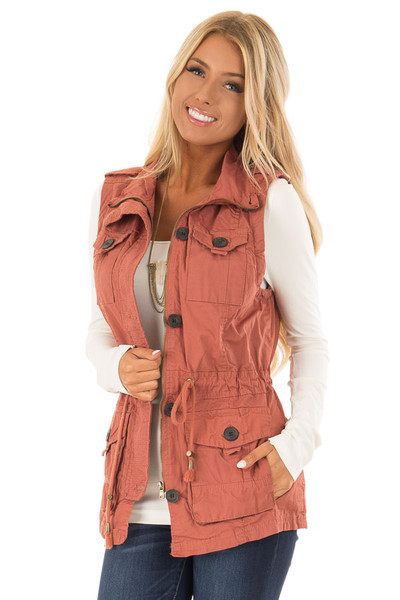 Clay Zip Up Button Vest with Draw String and Pockets front close up