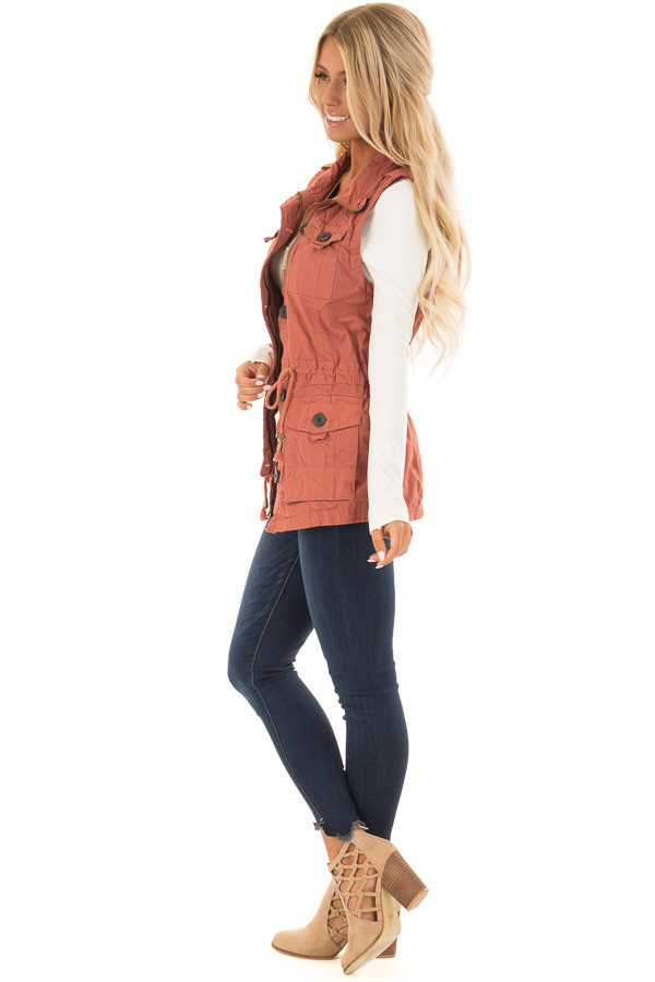 Clay Zip Up Button Vest with Draw String and Pockets side full body