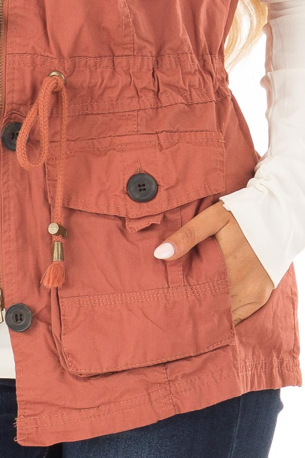 Clay Zip Up Button Vest with Draw String and Pockets detail