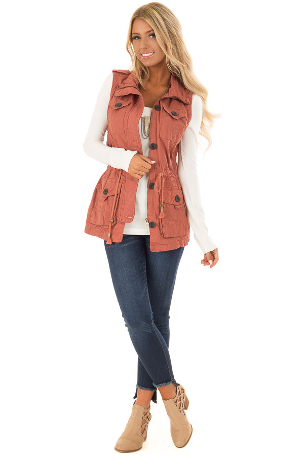 Clay Zip Up Button Vest with Draw String and Pockets front full body